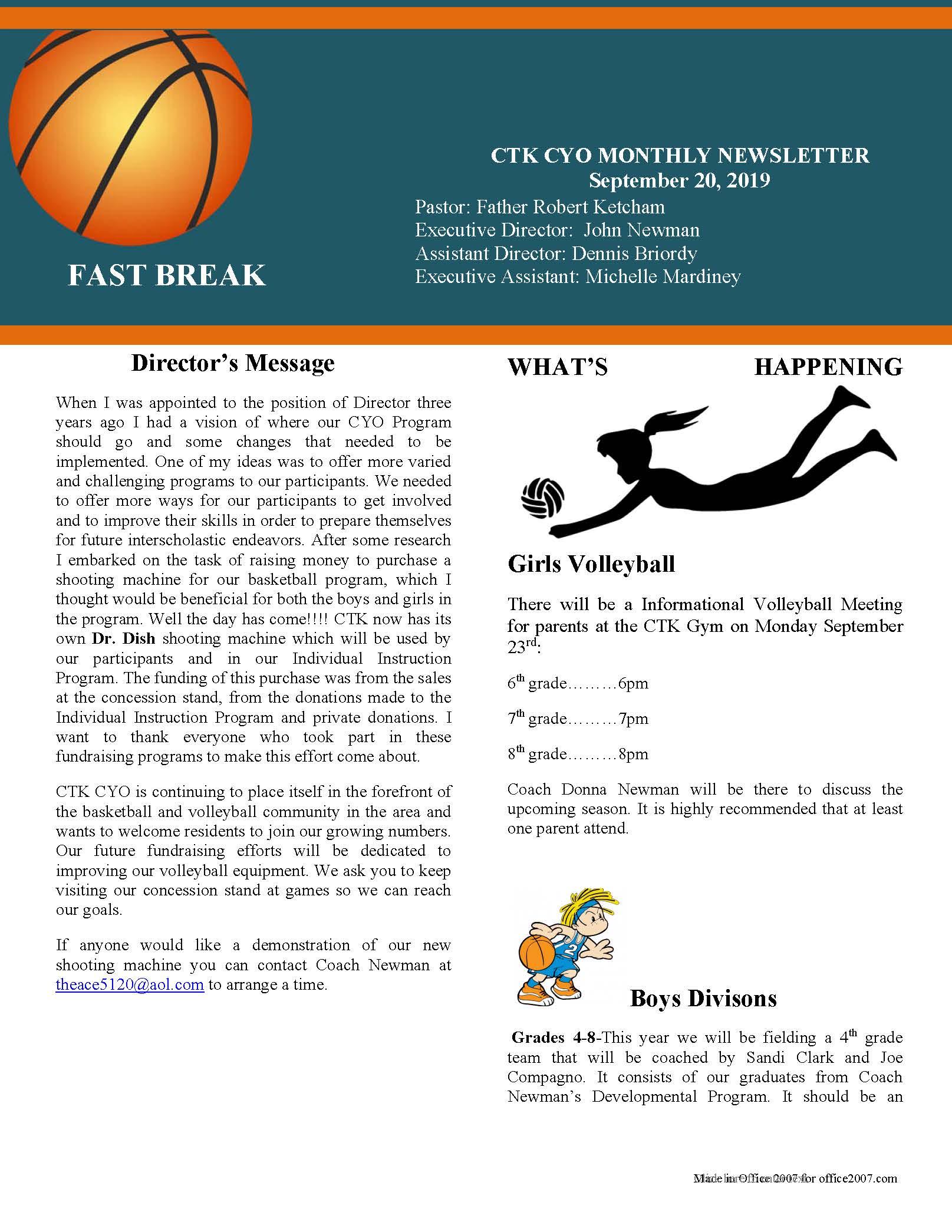 2019-09-CYO-Newsletter